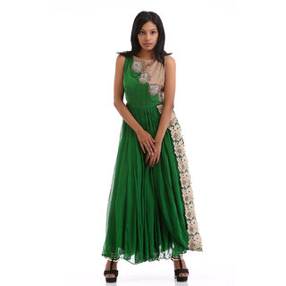 Green Dress with Yoke in silk and georgette lace work