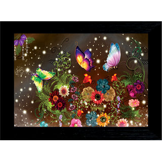 MLH Handicraft Gift Set Butterfly Group With UV Print Canvas Painting