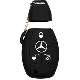Autostark Silicone Key Cover For Mercedes Benz 3 Button Smart Key (Black)