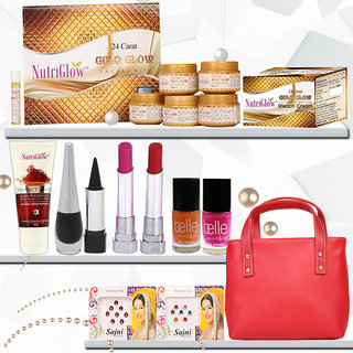Nutriglow 24 Carat Gold Creams and Moisturisers Glow Facial Kit With Make Up Essentials And A Perfect Handbag (Set of 1)