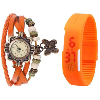 Jack Klein Combo Of Orange Butterfly Vintage Watch And Orange Led Watch