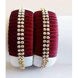 Traditional Silk Thread Fancy Burgundy Red Bangles Set For Women