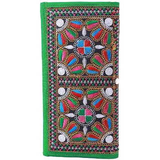 Miss Perfect Green Color Handmade Ethnic Purse With Kutchi Work