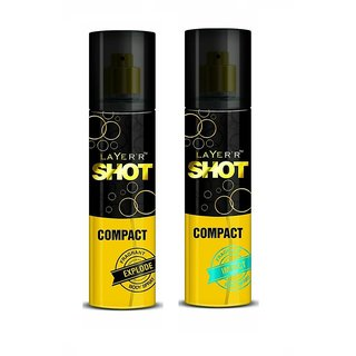 Layer'r Shot Compact Explode, Imapct Body Spray (Pack of 2) 60ml each