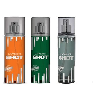 Layer'r Shot Smokin Hot, Royal Jade, Power Play Deodorant (pack of 3) 135ml each