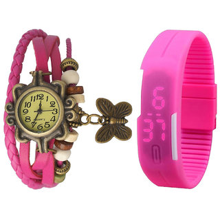 Jack Klein Combo Of Pink Butterfly Vintage Watch And Pink Led Watch