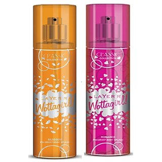 Layer'r Wottagirl Blossom, Romance Classic Body Spray (pack of 2) 135ml each