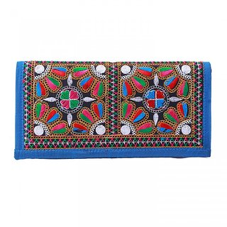 Miss Perfect  Blue Color Handmade Ethnic Purse with Kutchi Work