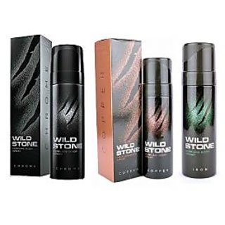 Wild Stone Chrome, Copper, Iron Body Spray (pack of 3) 120ml each