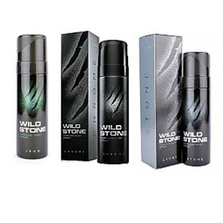 Wild Stone Iron, Chrome, STONE Body Spray (pack of 3) 120ml each