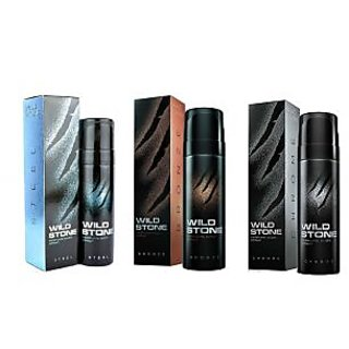 Wild Stone Steel, Bronze, Chrome Body Spray (pack of 3) 120ml each