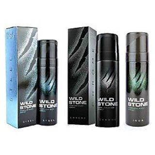 Wild Stone Steel, Chrome, Iron Body Spray (pack of 3) 120ml each