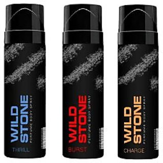 Wild Stone Thrill, Burst, Charge Body Spray (pack of 3) 120ml each