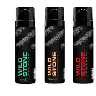 Wild Stone Wave, Charge, Burst Body Spray (pack of 3) 120ml each