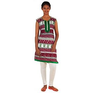 Shree Ethnic Wear Maroon Cotton Straight Embroidered Kurti