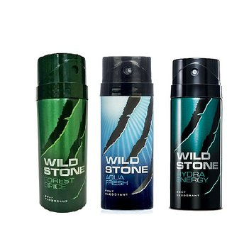 Wild Stone Aqua Fresh, Forest Spice, Hydra Energy Body Deodrant 150ml Set of 3