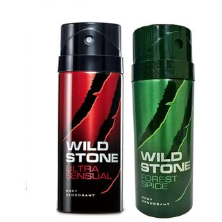 Wild Stone Forest Spice, Ultra Sensual Deodorant (Set of 2) 150ml each