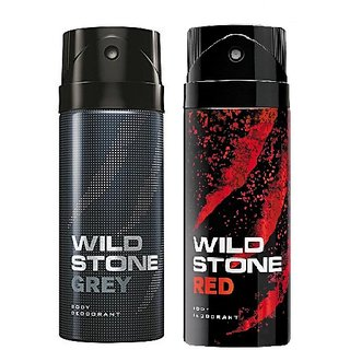 Wild Stone Grey, Red Body Deodrant 150ml Set of 2 150ml each