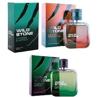Wild Stone Ultra Sensual, Hydra Energy, Forest Spice Spray Perfume 50ml each pack 3