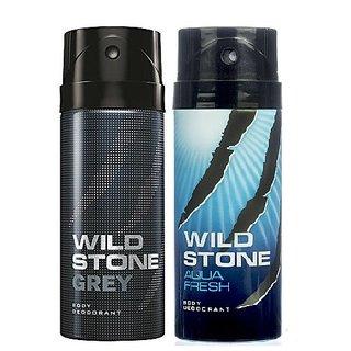 Wild Stone Grey, Aqua Fresh Body Deodrant 150ml Set of 2 150ml each