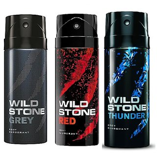 Wild Stone Grey, Red, Thunder Body Deodrant 150ml Set of 3