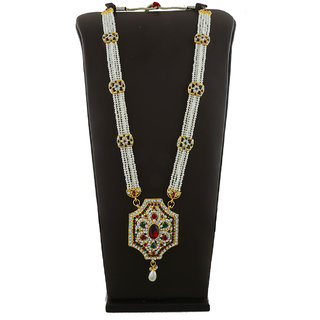 Anuradha Art Perfectly Studded With This Maroon-green Colored Shimmering stones Necklace For Ganpati Murti