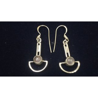EARRING0055-NICE EARRING MADE WITH BEAUTIFUL ROSE QUARTZ STONE AND SILVER