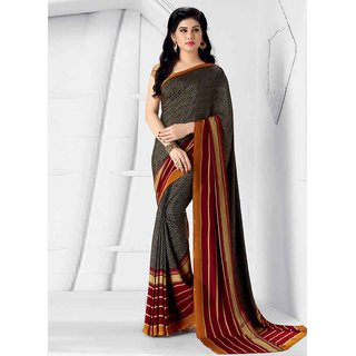 Swaron Brown Crepe Printed Saree With Blouse