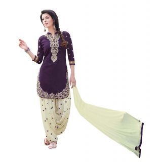 aa36f653fb Vaikunth Purple and off white colour cotton embroidered Semi-stitched  Patiala suit