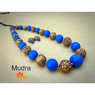 Mudra Handicrafts Blue Terracotta Necklace Set For Women