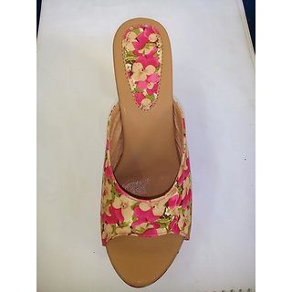 Women's Peep Toe Cut-out Wedge Heel Evening Slide Sandals