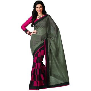 Thankar Pink  Grey Printed Bhagalpuri Saree