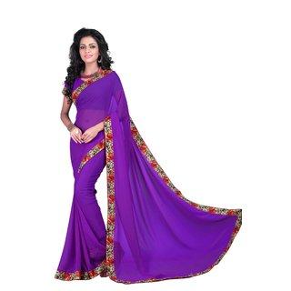 Neeta Purple Designer Georgette fashion saree with blouse piece