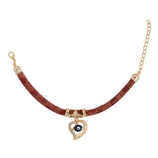 STRIPES Presents Red and Golden Colour Evil Eye Bracelet For Girl , Women