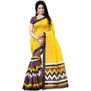 Thankar Yellow  Brown Printed Bhagalpuri Saree