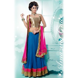 IshiMaya Gold and Blue Lehenga Saree