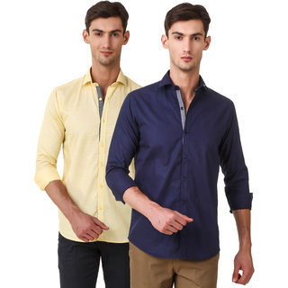 Audbury Yellow  Navy Button Down Full sleeves Men Casual shirts