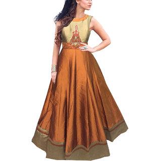 khantil New Mustard Taffeta Silk Designer Gown