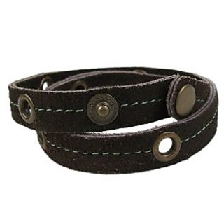 Sakhi Styles men's handmade genuine leather bracelet double wrap and eyelets adjustable size with metal stud closer.