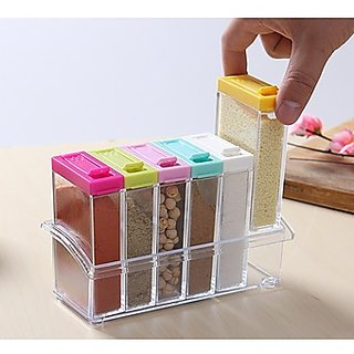 Seasoning Rack Spice Pots 6 Piece Acrylic Seasoning Box Storage Container Condiment Jars Kitchen Accessories