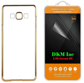 Golden Chrome TPU Back Cover for Reliance Jio LYF Wind 2 with 25D HD Tempered Glass