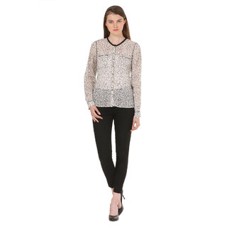 LABEL PRAMODINI  - Poly Georgette Black  white Animal Print Full Sleeve Shirt