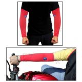 Pair Of Stylish Biking Sports Arm Sleeves For Uv Sunrays Summer Protection Red