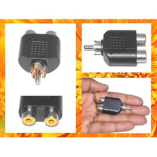 1 RCA Male to 2 RCA Female Splitter  Adapter