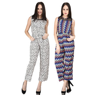 8794abff676b Buy Westrobe Women White Tiger And Zig Ziag Printed Jumpsuits Combo ...