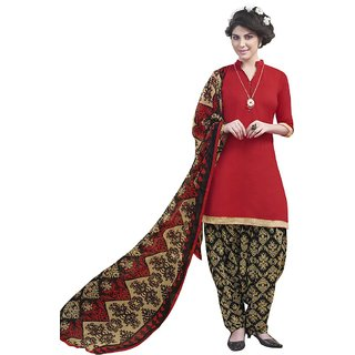 Khushi Trendz Satin Red Unstitched Salwar Suit