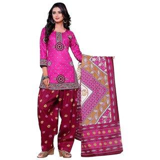 Khushi Trendz Cotton Pink Unstitched Salwar Suit