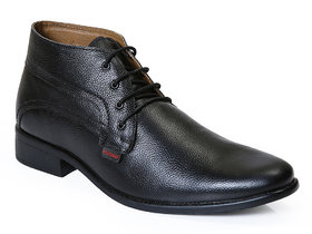 Red Chief Black Men High Ankle Derby Formal Leather Shoes (RC2381 001)