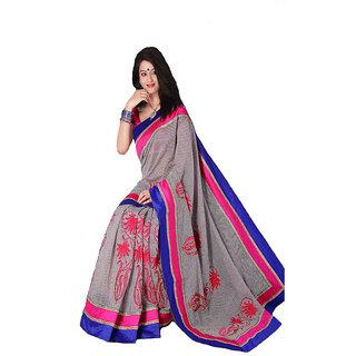Pink & Blue Border Chanderi Silk Saree