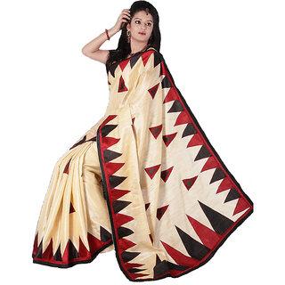 Beige Cream Khadi Silk Saree
